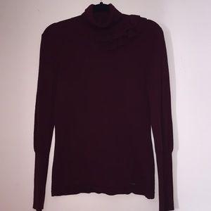 Jennifer Lopez frill burgundy turtleneck sweater